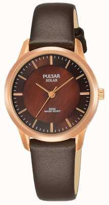 Pulsar Quadrante marrone cinturino in pelle marrone placcato oro rosa PY5044X1