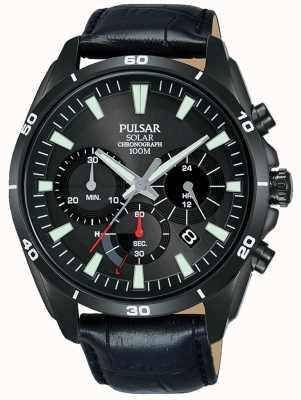 Pulsar Cinturino cronografo solare nero con cinturino in pelle nera da uomo PZ5063X1