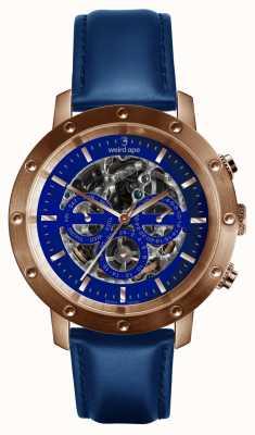 Weird Ape Cinturino in pelle blu di Icarus 3 quadrante blu oro rosa / blu indaco WA02-005730