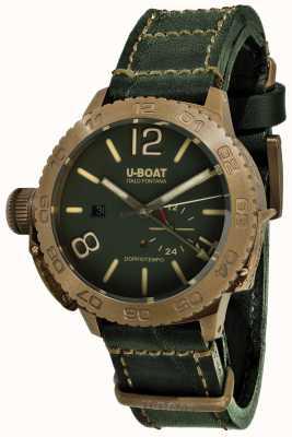 U-Boat Cinturino in pelle verde automatico Doppio tempo 46 bronzo gr 9088