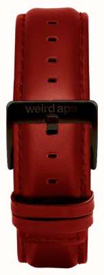 Weird Ape Fibbia nera con cinturino in pelle rossa da 20mm ST01-000077