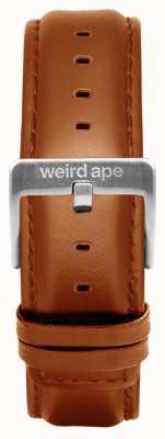 Weird Ape Fibbia in argento con cinturino in pelle marrone chiaro da 20mm ST01-000100