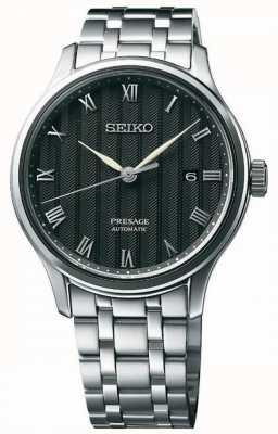 Seiko Presage mens automatico bracciale quadrante nero in acciaio inossidabile SRPC81J1
