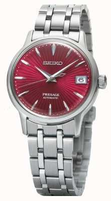 Seiko Presage womens orologio automatico quadrante rosso in acciaio inox SRP853J1