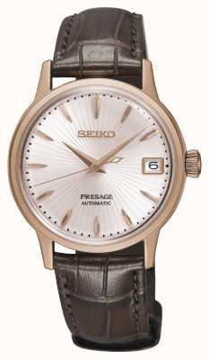 Seiko Cinturino in pelle marrone oro rosa orologio automatico di Presage SRP852J1