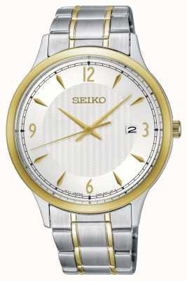 Seiko Orologio da uomo bicolore quadrante bianco con quadrante classico SGEH82P1
