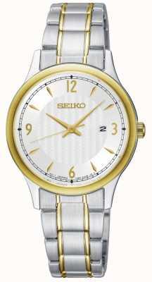Seiko Orologio classico da donna con quadrante bianco a due tonalità SXDG94P1