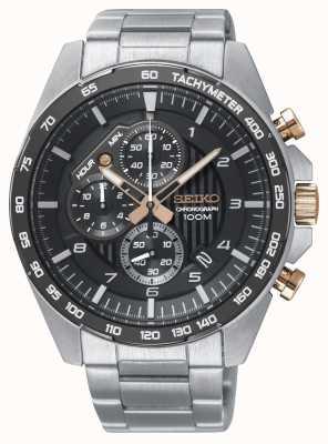 Seiko Orologio da uomo in acciaio con cinturino nero cronografo motorsport SSB323P1