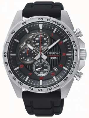 Seiko Orologio da uomo con cinturino in gomma cronografo nero da uomo SSB325P1