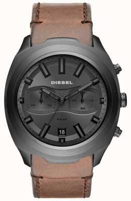 Diesel Orologio da uomo con cinturino in pelle marrone cronografo grigio DZ4491