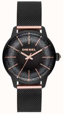 Diesel Bracciale da donna con cinturino in maglia nera e oro rosa DZ5577