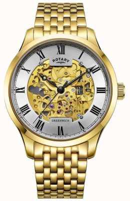 Rotary Orologio da scheletro placcato oro automatico da uomo Greenwich GB02941/03