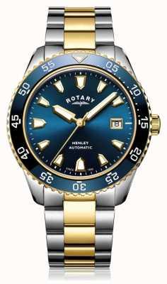 Rotary Mens henley automatico quadrante blu con cinturino a due toni GB05131/05