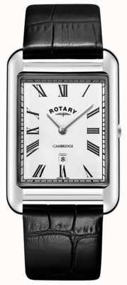 Rotary Orologio da uomo con cinturino in pelle nera quadrata con datario cambridge GS05280/01