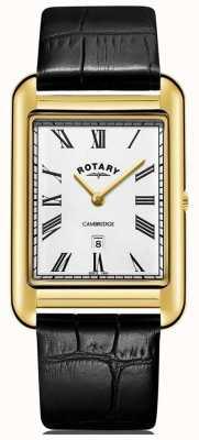 Rotary Cinturino in pelle da uomo con quadrante nero con cinturino in oro con datario GS05283/01