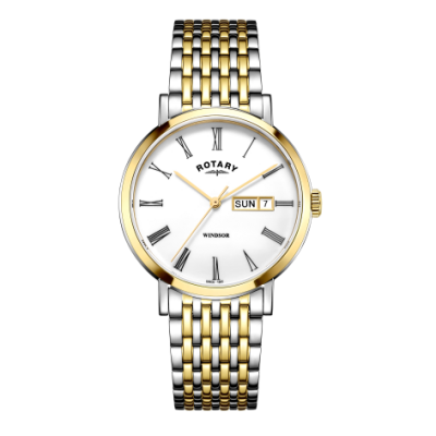 Rotary Mens windsor bicolore orologio in argento e oro GB05302/01