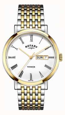 Rotary Mens windsor bicolore orologio in argento e oro GB05302/01