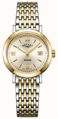Rotary Womens windsor bicolore orologio da polso in oro e argento LB05301/09