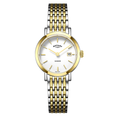 Rotary Womens windsor bicolore orologio da polso in oro e argento LB05302/01