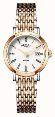 Rotary Orologio da donna con cinturino in oro rosa e argento bicolore windsor LB05302/01