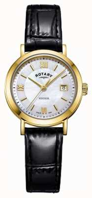 Rotary Womens windsor madreperla quadrante cinturino in pelle nera LS05303/41