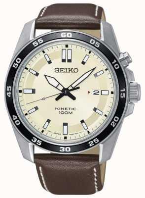 Seiko Quadrante crema cinturino in pelle marrone cinturino orologio maschile SKA787P1