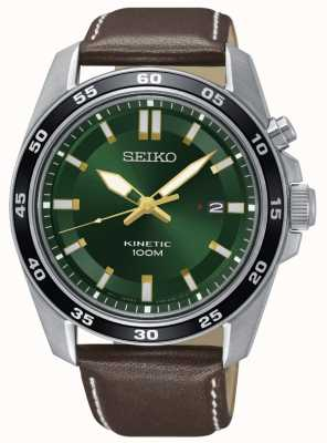 Seiko Quadrante verde cinturino in pelle marrone cinturino orologio maschile SKA791P1