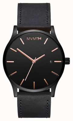 MVMT Classica pelle rosa nera | cinturino nero | quadrante nero D-MM01-BBRGL