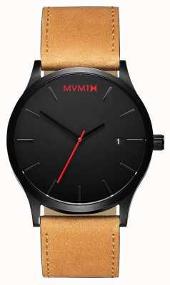 MVMT Abbronzatura nera classica | cinturino in pelle marrone | quadrante nero D-L213.5L.351