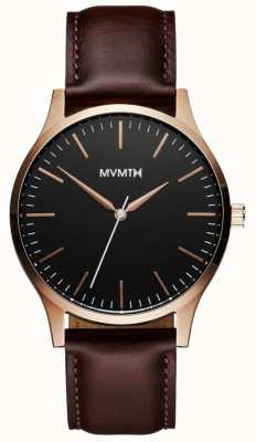 MVMT Serie 40 in oro rosa marrone | cinturino marrone | quadrante nero D-MT01-BLBR