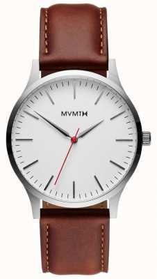 MVMT Abbronzatura naturale argento serie 40 | cinturino marrone | quadrante argentato D-MT01-SNA
