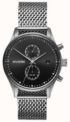MVMT Voyager in sterline | maglia di acciaio inossidabile | quadrante nero D-MV01-S2