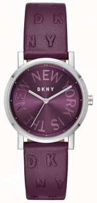 DKNY Orologio da donna con quadrante viola in pelle viola NY2762