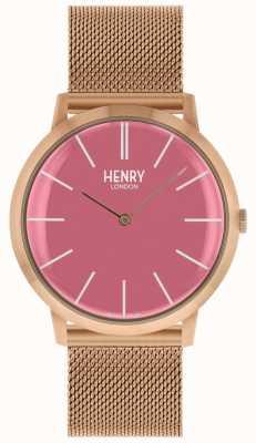 Henry London Cinturino in maglia tono oro rosa con iconico quadrante rosa HL40-M-0312