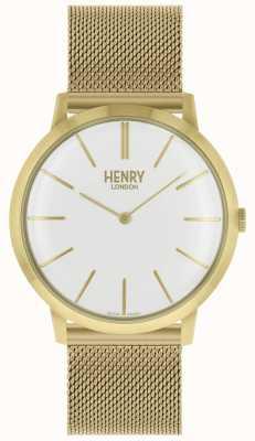 Henry London Cinturino in maglia tono oro bianco iconico HL40-M-0250