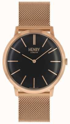 Henry London Cinturino in maglia tono oro rosa con quadrante nero HL40-M-0254