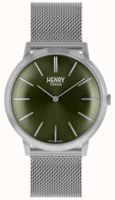 Henry London Quadrante verde con cinturino in maglia argento iconica HL40-M-0253