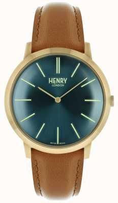 Henry London Cinturino in pelle marrone con cinturino in pelle color oro HL40-S-0274