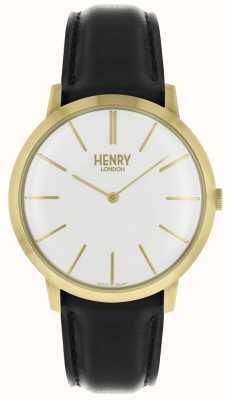 Henry London Cinturino iconico in oro bianco con cinturino in pelle nera HL40-S-0238