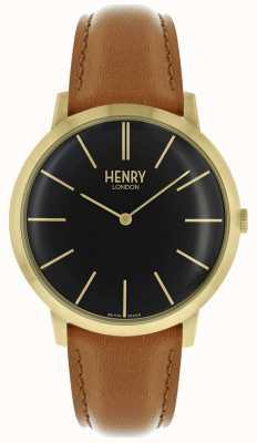 Henry London Cinturino in oro marrone con cinturino in pelle marrone HL40-S-0242
