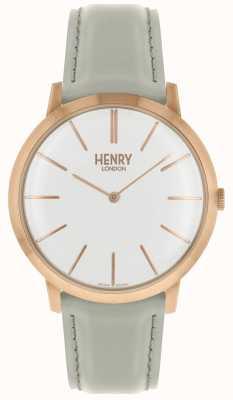 Henry London Cassa tono rosa cinturino in pelle grigia quadrante bianco HL40-S-0290