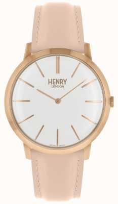 Henry London Cassa tono rosa cinturino in pelle rosa quadrante bianco HL40-S-0288