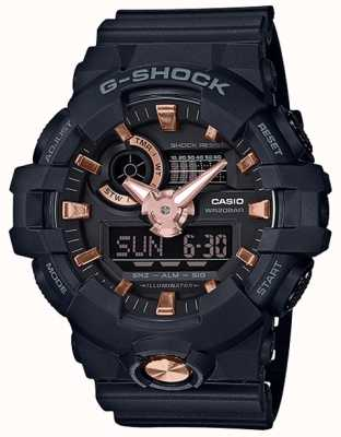Casio G-shock analogico orologio in oro rosa con cinturino in pelle blu navy GA-710B-1A4ER