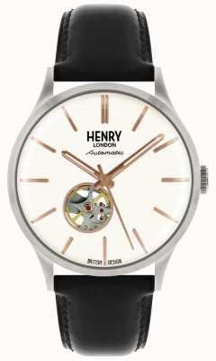 Henry London Orologio da uomo con quadrante bianco, cinturino in pelle nera automatico HL42-AS-0279
