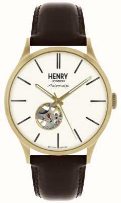 Henry London Orologio da uomo con quadrante bianco, cinturino in pelle nera automatico HL42-AS-0280