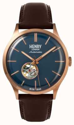 Henry London Orologio da uomo con cinturino in pelle marrone automatico marrone HL42-AS-0278