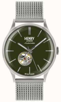 Henry London Heritage mens orologio automatico con quadrante verde in acciaio argentato HL42-AM-0283
