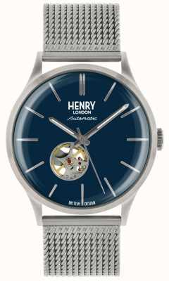 Henry London Orologio da uomo con quadrante blu automatico in acciaio argentato HL42-AM-0285