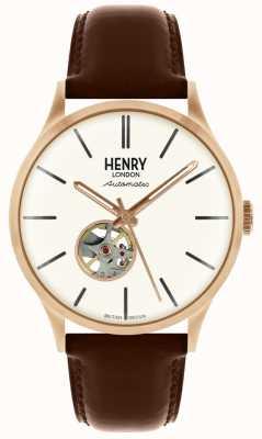 Henry London Orologio da uomo con quadrante bianco, cinturino in pelle marrone automatico HL42-AS-0276