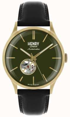Henry London Heritage mens automatico cinturino in pelle nera quadrante verde orologio HL42-AS-0282